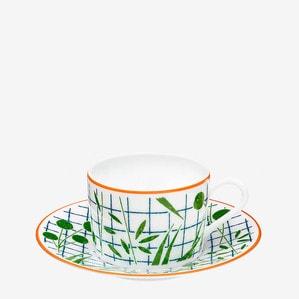 """Чашка чайная с блюдцем """"Зелёный"""" 160мл"""