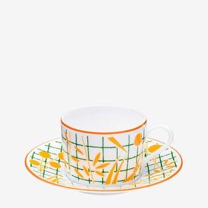 """Чашка чайная с блюдцем """"Желтый"""" 160мл"""
