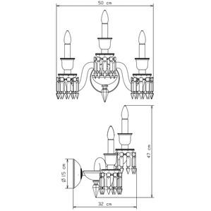 Бра, настенный светильник на 3 ламп 47 x 32 x 50см