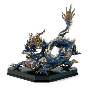 """Статуэтка """"Великий дракон (синяя эмаль)"""" 74 x 70см"""