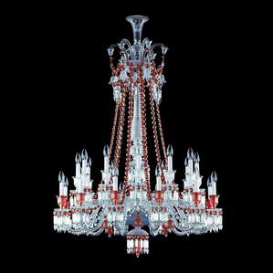 """Люстра на 24 свечей (длинный) """"Красный"""" 148 x 108см"""