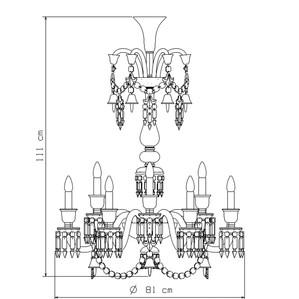 Люстра на 12 свечей (длинный) 111 x 81см