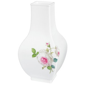 Ваза Rosenmalerei, Weiße Rose, vielblättrig, purpur Kern, bunt, weißer Rand, H 25,5 cm