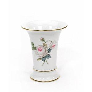 """Ваза """"Neuer Ausschnitt"""", Weiße Rose mit Purpurkern, Goldrand, H 10,5 cm"""