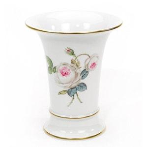 """Ваза """"Neuer Ausschnitt"""", Weiße Rose mit Purpurkern, Goldrand, H 16 cm"""