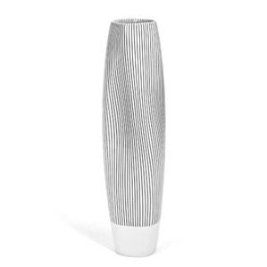 Ваза TIDE, Linien in schwarz, weißer Rand, H 35 cm