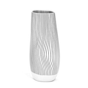 Ваза TIDE, Linien in schwarz, weißer Rand, H 19 cm