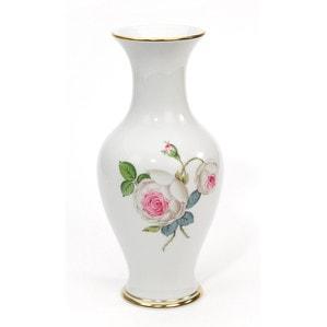 """Ваза """"Neuer Ausschnitt"""", Weiße Rose mit Purpurkern, Goldrand, H 24 cm"""