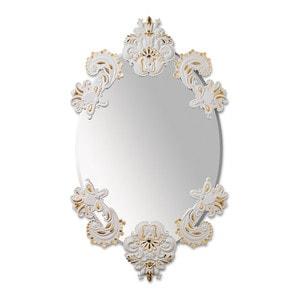 Овальное зеркало без рамки (белый / золотой) 92 x 53см