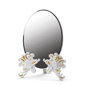 """Зеркало настольное """"Vanity (белый / золотой)"""" 41 x 29см"""