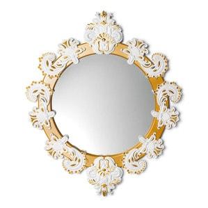 Зеркало круглое с рамкой (белый / золотой) 90 x 72см