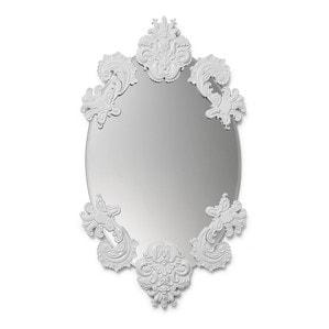 Овальное зеркало без рамки (белый) 92 x 53см