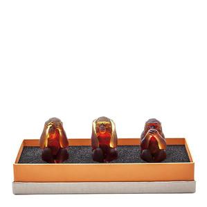 """Статуэтка """"3 обезьяны - янтарный, коричневый"""" 7,5см"""