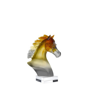 "Статуэтка ""Лошадиная голова - янтарный, серый"" 17,5см"