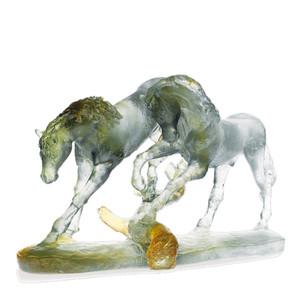 "Статуэтка ""Любовь лошадей - янтарный, серый, зеленый"" 45см"