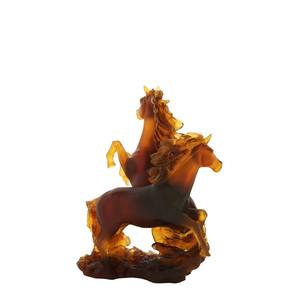 """Статуэтка """"2 лошади - янтарный, коричневый"""" 25см"""