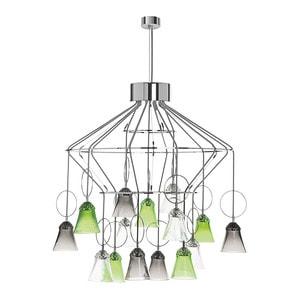 "Люстра на 15 ламп ""Фланель-серый, Шартрёз-зеленый, Прозрачный"" 88 x 88,6см"
