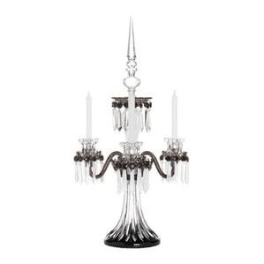 """Канделябр на 3 свечей """"Фланель-серый, Черный, Прозрачный сатинированный кристалл"""" 76 x 48см"""