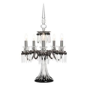 """Канделябр на 5 ламп """"Фланель-серый, Черный, Прозрачный сатинированный кристалл"""" 76 x 48см"""