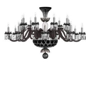 """Люстра на 18 свечей """"Фланель-серый, Черный, Прозрачный сатинированный кристалл"""" 105 x 80см"""