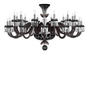 """Люстра на 24 свечей """"Фланель-серый, Черный, Прозрачный сатинированный кристалл"""" 110 x 80см"""