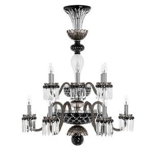 """Люстра на 12 свечей """"Фланель-серый, Черный, Прозрачный сатинированный кристалл"""" 105 x 80см"""