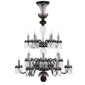 """Люстра на 18 свечей """"Фланель-серый, Черный, Прозрачный сатинированный кристалл"""" 110 x 80см"""