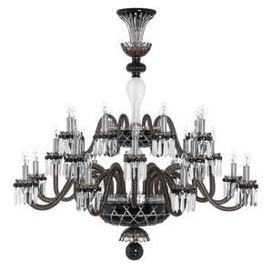 """Люстра на 24 свечей """"Фланель-серый, Черный, Прозрачный сатинированный кристалл"""" 130 x 120см"""