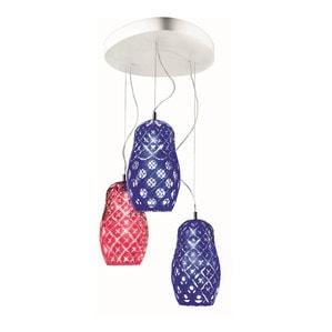 """Подвесная лампа на 3 ламп """"Темно-синий, Аметист"""" 70-200 x 53см"""