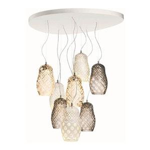 """Подвесная лампа на 8 ламп """"Фланель-серый, Прозрачный, Белая эмаль"""" 70-200 x 100см"""