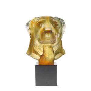 "Статуэтка ""Голова собаки Лабрадор - янтарный"" 33см"