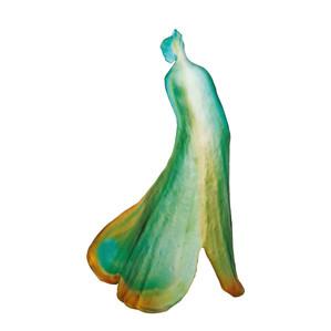 """Статуэтка """"Леди Гинкго - зеленый, синий, янтарный"""" 46см"""