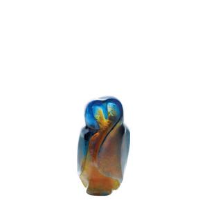 """Статуэтка """"Любовные совы - янтарный, синий, желтый"""" 12см"""