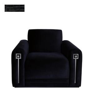 """Кресло """"Черная кожа с тиснением под крокодила"""" 104x94x80см"""