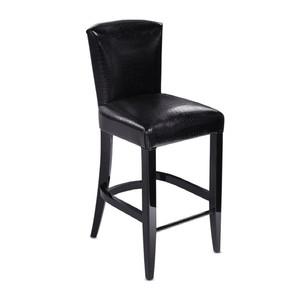 """Барный стул """"Черный лак, черная кожа с тиснением под крокодила"""" 102x43x71см"""