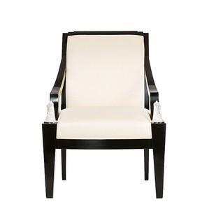 """Кресло """"Черный лак, шелк слоновая кость"""" 73x78x101см"""
