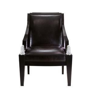 """Кресло """"Черный лак, черная кожа с тиснением под крокодила"""" 73x78x101см"""