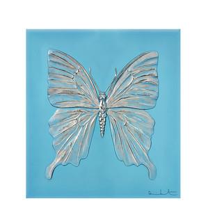 """Декоративная панель """"Бабочка - бирюзовый, платиновый"""" 42см"""