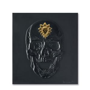 """Декоративная панель """"Череп - черный, золотой"""" 42см"""