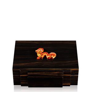 """Хьюмидор для сигар """"Эбеновое дерево, янтарный"""" 30см"""