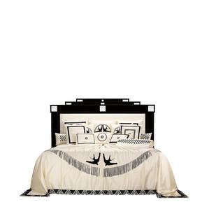 """Кровать без решетчатой рамы и без матраса """"Черный лак, шелк слоновая кость"""" (Матрас: 180x200см) 228x214x160см"""