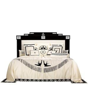 """Кровать без решетчатой рамы и без матраса """"Черный лак, шелк слоновая кость"""" (Матрас: 200x200см) 248x244x160см"""