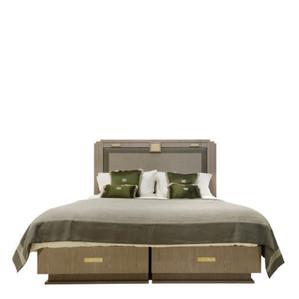 """Кровать без решетчатой рамы и без матраса """"Натуральное дерево, зелёная ткань"""" (Матрас: 180x200см) 228x214x160см"""