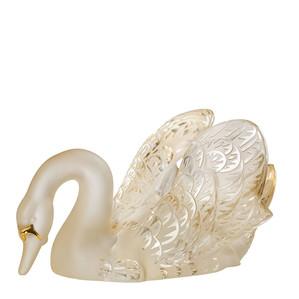 """Статуэтка """"Лебедь, головой вниз - золотистый, золотое покрытие"""" 18см"""