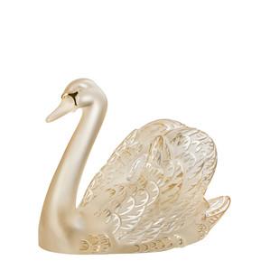 """Статуэтка """"Лебедь, головой вверх - золотистый, золотое покрытие"""" 24см"""