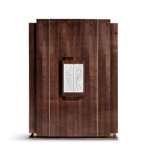 """Шкаф с хрустальными ручками """"Ореховое дерево, сатинированная золочением сталь"""" 146x71x200см"""