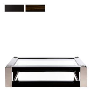 """Журнальный столик """"Черный лак, эбеновое дерево, полированная сталь"""" 180x110x45см"""