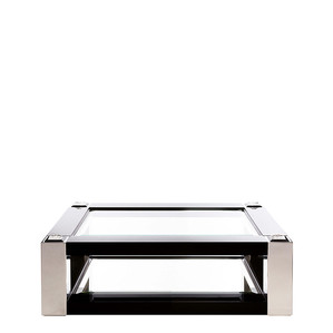 """Журнальный столик """"Черный лак, полированная сталь"""" 145x95x45см"""