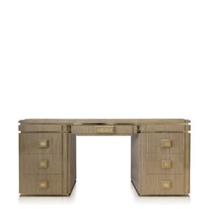 """Письменный стол с ящиками """"Золотистый хрусталь, натуральное дерево, сатинированная золочением cталь"""" 175x51x80см"""