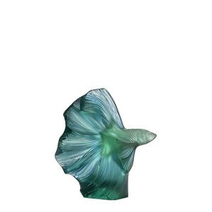 """Статуэтка """"Боевая рыбка - зелёный мятный, голубая патина"""" 16см"""